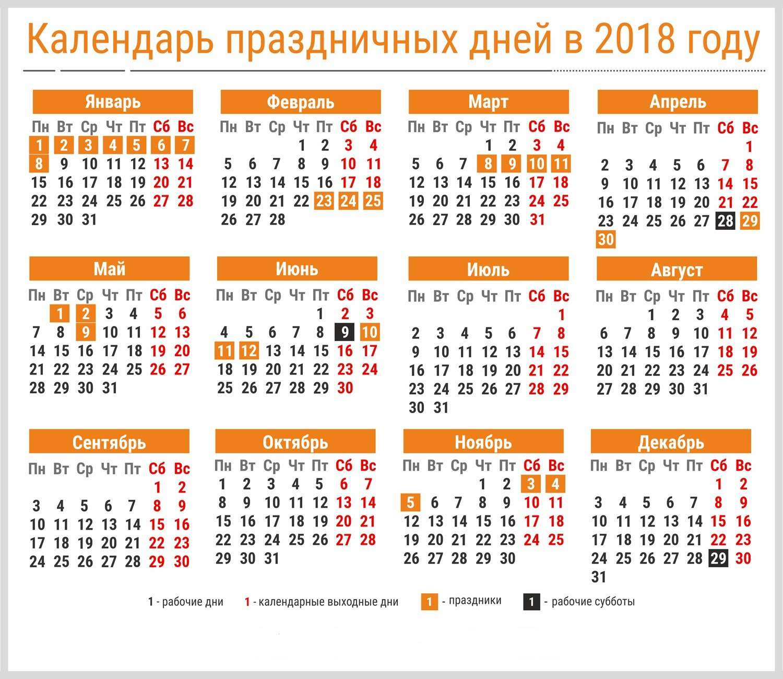 Календарь выходных и праздников на 2018 год в России: сколько выходных дней в 2018 году, и когда официально отдыхаем