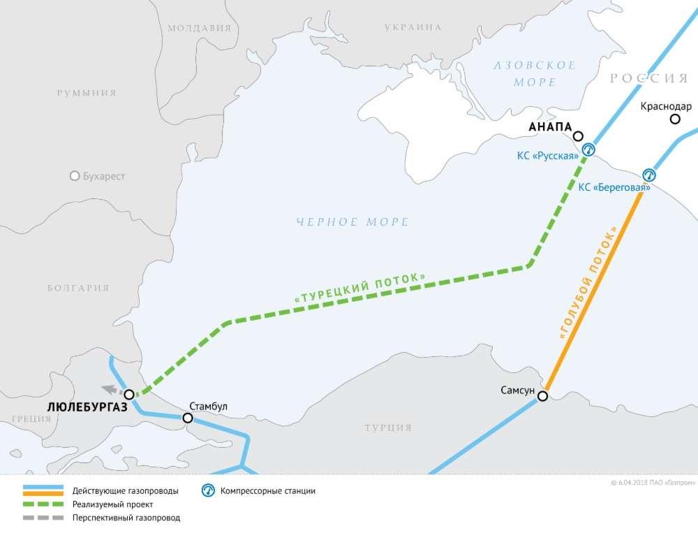 Турецкий поток газопровод: карта