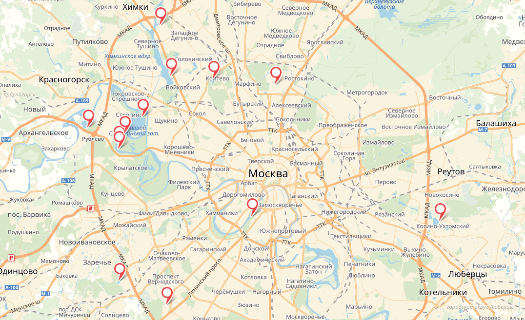Пляжи Москвы и Подмосковья 2018 на карте
