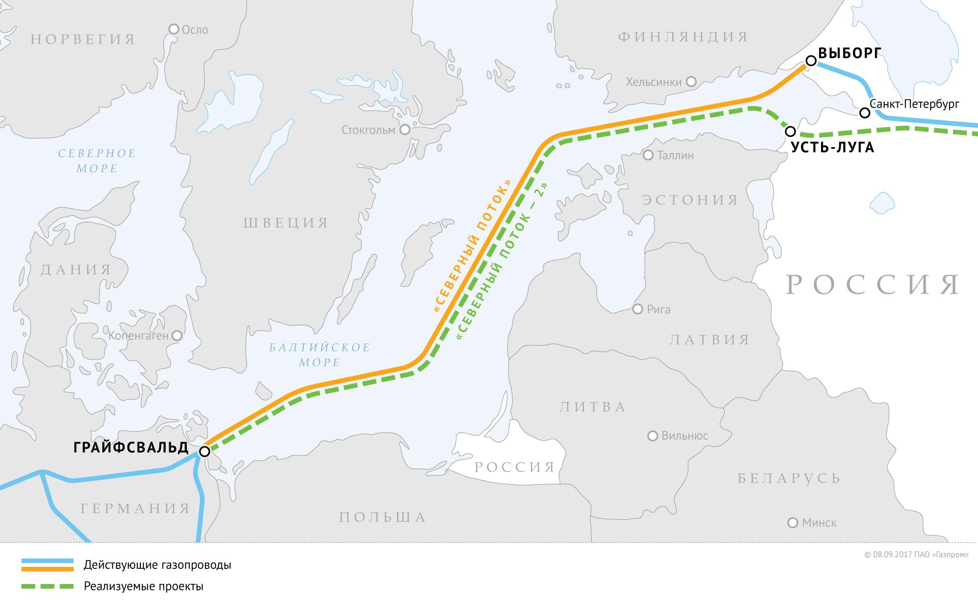 Северный поток 2: карта маршрута