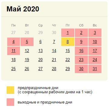 Календарь выходных в мае 2020 года